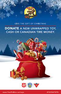 Toys for Tots poster of Santa's bag full of toys