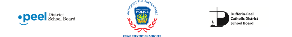 Logos for PDSB, Crime Prevention Services and DFCDSB