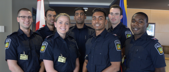 Group of young cadets smiling to camera